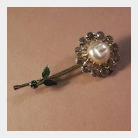 Lovely Flower Pin with Simulated Pearl and Lavender Rhinestones
