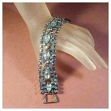 Rhinestone Bracelet with Blue Aurora Borealis Stones