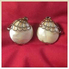 Mother of Pearl Earrings with Silver-tone Settings