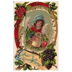 Embossed Postcard of Girl wit Sunbonnet, Tambourine,  Flowers and Grapes