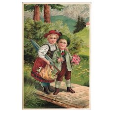 Heavily Embossed Postcard of Adorable Children Crossing a Bridge - Set in Switzerland or Germany