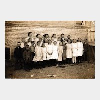 Real Photo Postcard of Children Outside the School