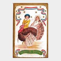 Thanksgiving Postcard of Two Children  Walking a Turkey