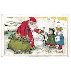 Santa Postcard - Giving Toys to Little Girls