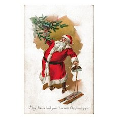 Santa Decorating the Christmas Tree Postcard