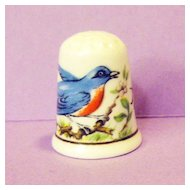 American Blue Bird Thimble - Fine Bone China Made in England