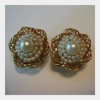 Elegant Hobe Gold-Tone & Simulated Pearl Earrings
