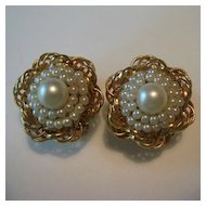 Elegant Hobe Gold-Tone & Simulated Pearl Earrings