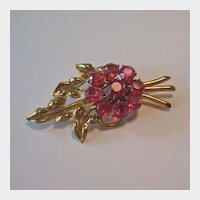 Oh So Pretty Pink and Gold-tone Flower Pin