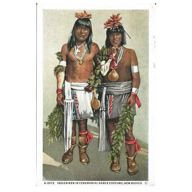 Click to expand  sc 1 st  Ruby Lane & Fred Harvey Postcard Indian Men in Ceremonial Dance Costume New ...