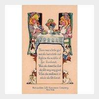 Metropolitan Life Insurance Company Advertising Postcard Nursery Rhyme