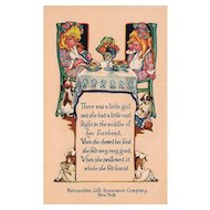 Metropolitan Life Insurance Company Advertising Postcard Nursery Rhyme