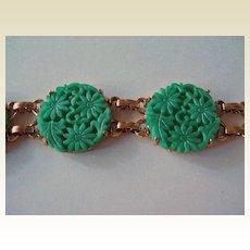 Celebrity Simulated Carved Jade Bracelet