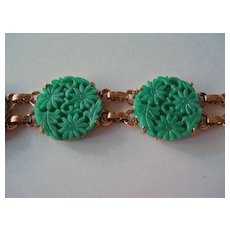 Celebrity Simulated Carved Jade Bracelet