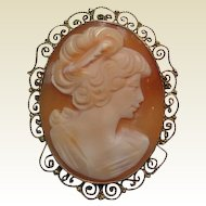 Shell Cameo Sterling Setting Vermeil Finish