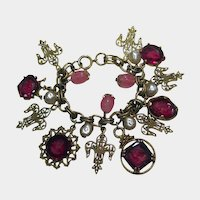 Charm Bracelet with Red Glass Intaglio Cameo Charms Fleur de Les Pink Stones and Simulated Pearls