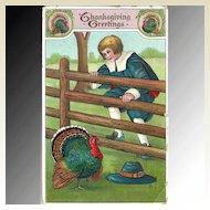 Thanksgiving Postcard Pilgrim Boy and Turkey