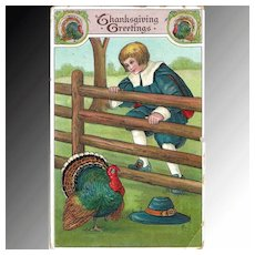 Thanksgiving Postcard Pilgrim Boy and Turkey