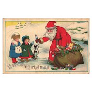 Old World Santa Postcard Children Toys Snow Christmas