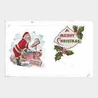 Postcard Santa Getting in Chimney Christmas Unused