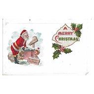 Postcard Santa Getting in Chimney Christmas Unused