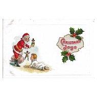 Santa Handing Out Toys Christmas Unused