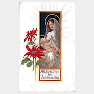 Mary and Baby Jesus Christmas Postcard Excellent Condition