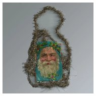 Victorian Die-cut Santa  Gold-tone Tinsel Ornament / Vintage Tinsel Ornament / Vintage Christmas / Collectible Ornament