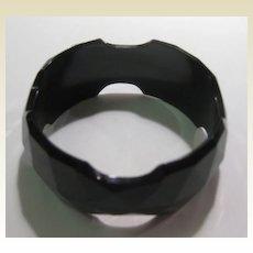 Black Bakelite Bracelet Carved Faceted