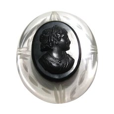 Mourning Style Cameo Brooch Black on Clear Lucite