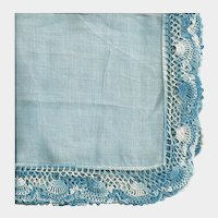 Blue Linen Hankie with Wide Variegated Blue Crochet Border