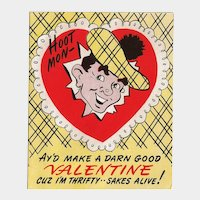 Valentine Card from Thrifty Suitor