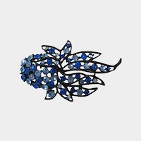 Japanned Feathery  Royal Blue and Powder Blue Rhinestone Pin
