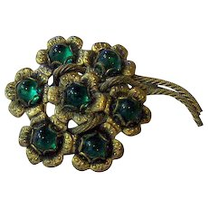 Antiqued Gold-tone Floral Flower Pin
