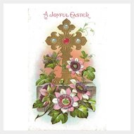 Easter Postcard with Jeweled Cross