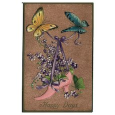 Postcard Featuring Butterflies and Shoe Full of Flowers