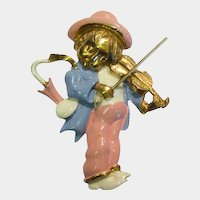 """Hummel """"Little Fiddler"""" Pin Gilded and Enameled by Silson"""