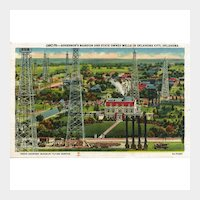 Oklahoma Postcard Governor's Mansion and State Owned Oil Wells