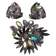 Weiss Blue Aurora Borealis  Pin and Earrings Set