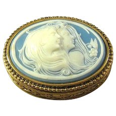 Estee Lauder Solid Perfume Compact Box with Two Cameos