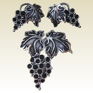 Napier Grapes Demi Parure Pin Earrings