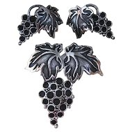 Napier Grapes Demi Parure Pin Earrings