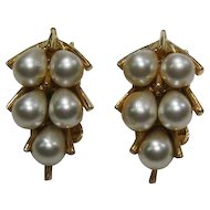 Simulated Teardrop Pearl Earrings Signed Art