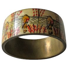 Hand Painted Bracelet Birds and Flowers Brass