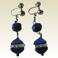 Sterling Lapis  Lazuli  and Crystal Drop Earrings by Marvel