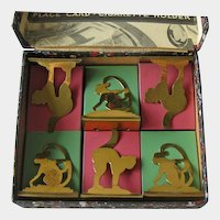 Place Card Cigarette Holders Brass Cats Monkeys Deco Period