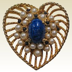 Hattie Carnegie Heart pin Lapis Simulated Pearls