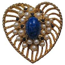 Hattie Carnegie Heart pin Lapis Simulated Pearls