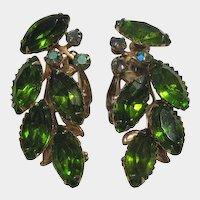 Olivine Lime Green Rhinestone Earrings