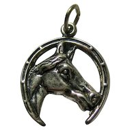 Horseshoe Horse Head Sterling Silver Charm